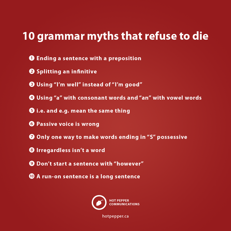 10 grammar myths that refuse to die