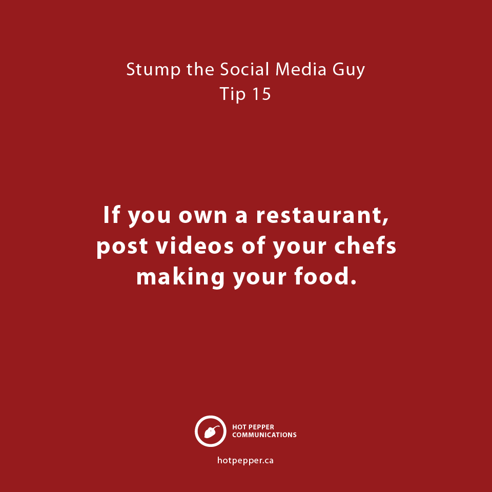 Stump the Social Media Guy: Tip 15, restaurants