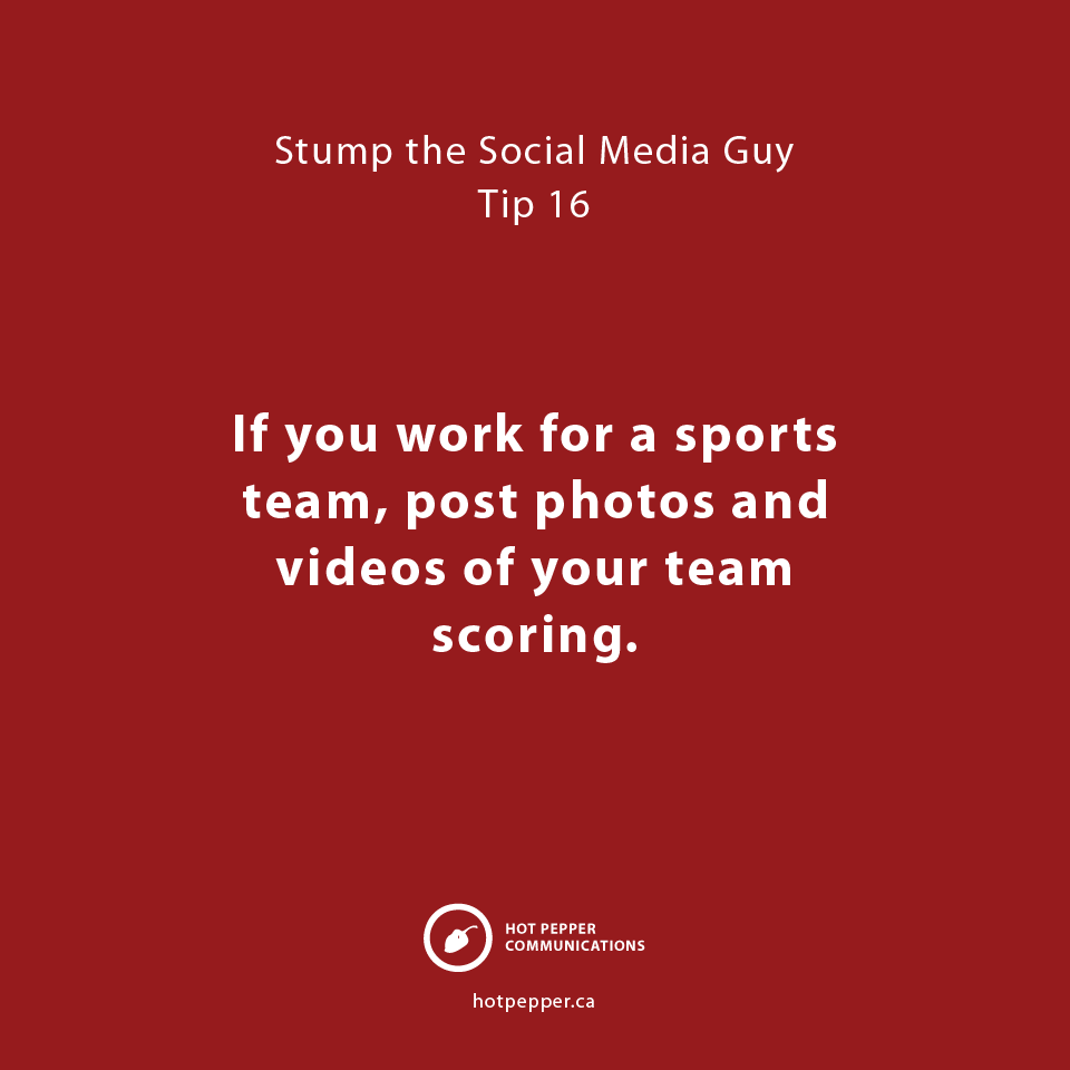 Stump the Social Media Guy: Tip 16, sports team