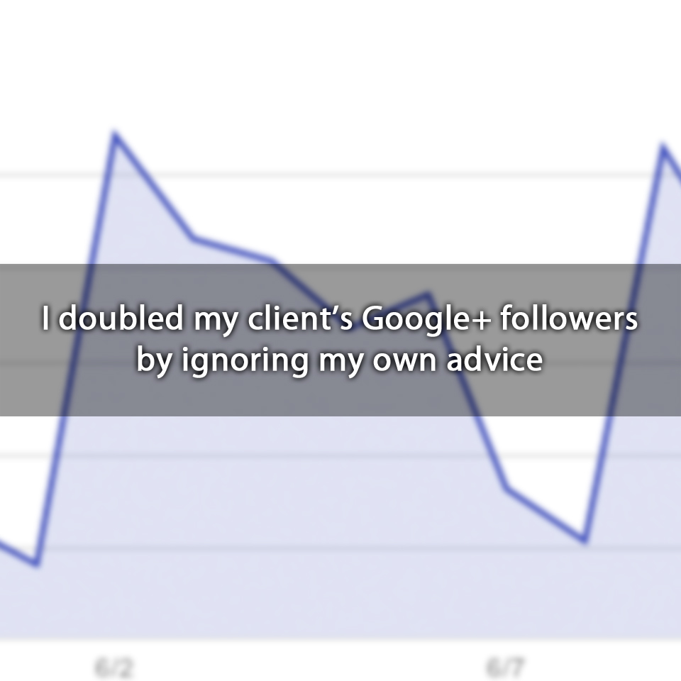 I doubled my client's Google+ followers by ignoring my own advice