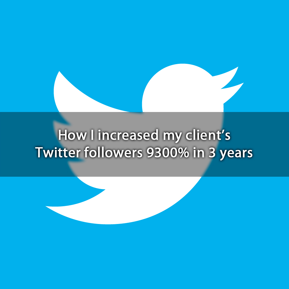 How I increased my client's Twitter followers 9,300% in 3 years